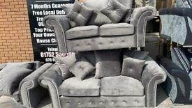 NEW stunning grey 3 plus 2 seater sofas beautiful plush material
