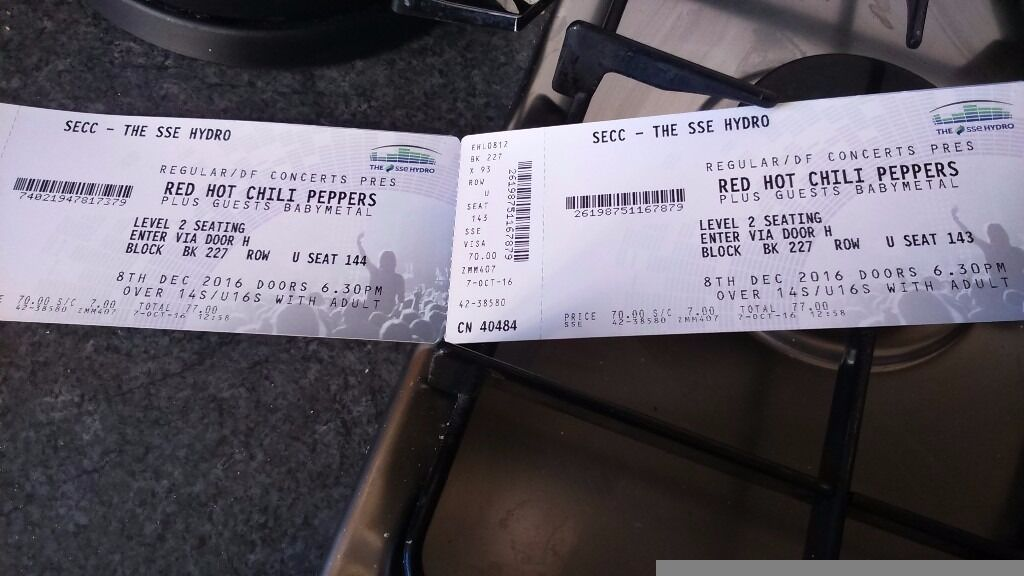 Red hot chili peppers tickets less than face value