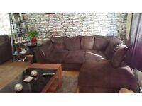 jumbo cord brown corner sofa