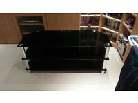 "1200mm Black Glass TV Stand for up to 55"" TV - Great condition, no scratches!"