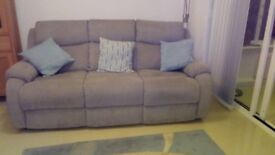 Grey fabric 3-seater sofa and chair. In immaculate condition. 18 months old.