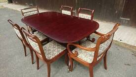 Large Regency Style extending table and 6 chairs - unusual peacock fabric