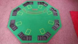 Folding table top poker table with chips and cards