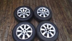 Set of 4 x 15 inch original vauxhall alloys with tyres