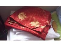 Free 2x Big Lace Curtain + red table cover set