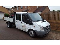 Ford transit tipper crew cab 115 LWB heavyduty, 6new tyres and rims tow bar cd player ect