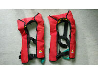Inflatable lifejackets - one pair with safety lines