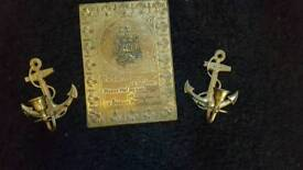 2 anchor candle sticks and brass wall plaque