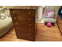 Vintage Retro Tall Chest of Drawers 6 Drawers Dresser Sideboard Dressing Table