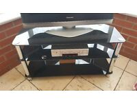Black glass & chrome tv stand
