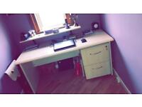 Office desk & drawers with lock
