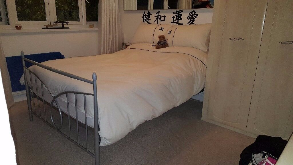 Double bed & nearly new mattress