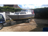 Teal 20 ft Cruiser Fishing Day Boat with Trailer and Watermota Sea Tiger Inboard