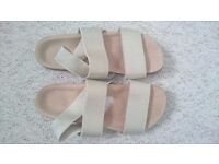 Hardly worn summer sandals Linea, gold stretchy fabric, size 38, UK 5.