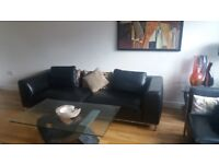Large Modern Quality Real Leather Sofa - Black