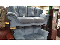 Nice Blue Leather 3 & 2 Seater Sofas