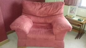 Red 2 and 3 seater settees and armchair