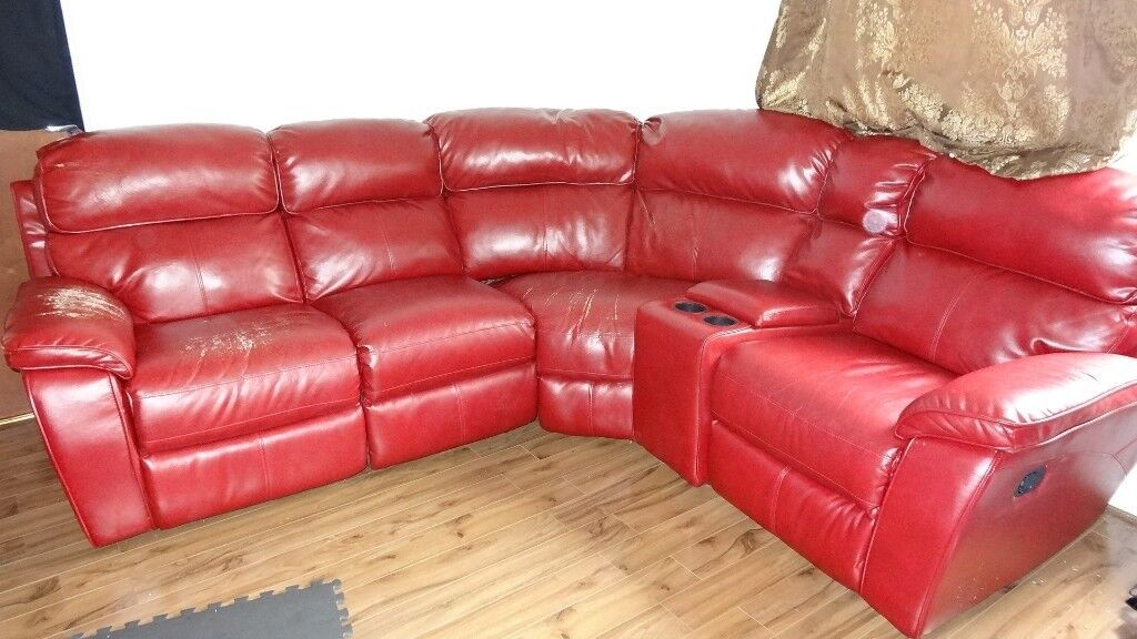 Faux Leather Dark Red Corner sofa in round shape for FREE | in ...