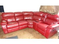 Faux Leather Dark Red Corner sofa in round shape for FREE