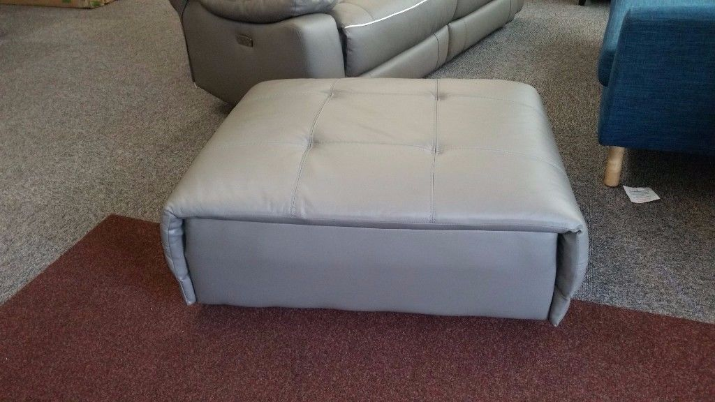 SCS AXIS Grey Leather Footstool Can Deliver View Collect Hucknall Nottingham