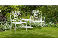 garden duo seat with 2 tier table in wrought iron , brand new in box unused.