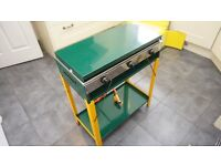 Stainless Steel GELERT Gas Stove with 2 Burners, Grill + Table
