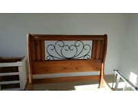 Solid Wooden Double Sleigh Bed & Bedside Tables - Banham