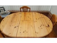 Pine Dinning Table and 6 chairs set