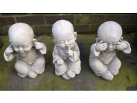 Set of 3 large concrete buddah monk baby statues