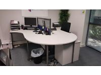 FREE 2 office desks with partition and semi circle end table