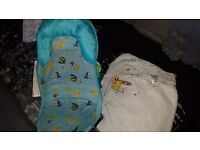 Baby bath support and 2 hoodied bath towels