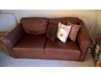 !!! TAN LEATHER 3-SEATER SOFA - BARGAIN !!!