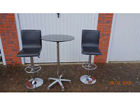 Glass Bar Table and Genuine Leather Chrome Bar Stools