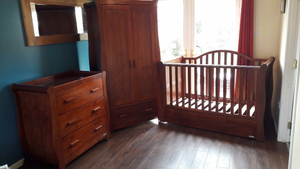 Beautiful Walnut Nursery Furniture Bonito Bebe Dax Collection Includes Cot Bed Changer Wardrobe