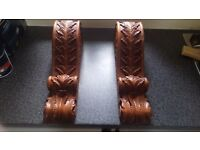 Wooden Hand carved corbells suitable for mantle piece or shelf (pair)