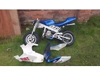 Race ready mini moto, NOT STANDARD. 2 hours use. Power exhaust etc etc.