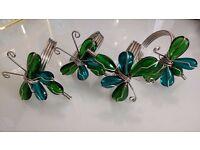 4 Unusual Teal & Green Glass Napkin / Serviette Rings.