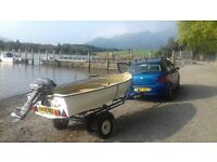 14ft motor boat, outboard engine and trailer