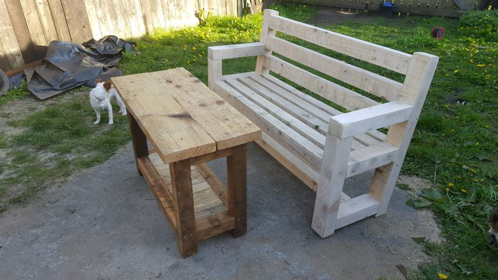 Garden bench and table rustic handmade reclaimed wood for Outdoor furniture gumtree