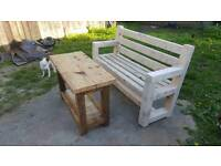 Garden bench and table. Rustic handmade reclaimed wood