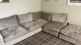 Corner Sofa and Soft Footstool