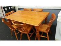 Solid Pine Dining or Kitchen Table & 6 Chairs