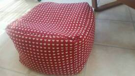 Red with white hearts pouffe