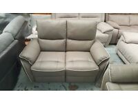SCS Teo Grey Leather 2 Seater Manual Recliner Sofa Can Deliver View Collect Kirkby NG177
