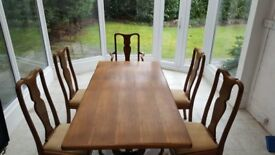 Beautiful antique dining set with matching Queen Anne style chairs
