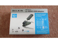 Brand New Belkin Wireless Network G+ Mimo USB Adapter