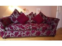 Cranberry 4 seater Sofa and Cuddle Chair . Lovely fabric