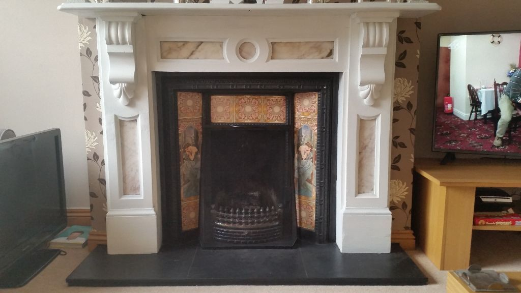 Victorian Cast Iron Fireplace With Slate Surround Hearth