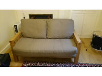 Futon double sofa bed, solid oak Oke Trifold with 3 panel Ultimate mattress and two cushion pads,