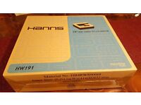 HANNS 19 INCH MONITOR WITH DVI AND VGA INPUT AND 1440 X 900 RESULOTION.